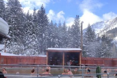 A Romantic Snowy Oasis at Grover Hot Springs in the Winter